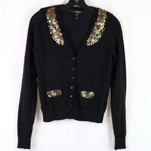 MNG 100% Wool Cardigan Sweater Sequin Detail sz S